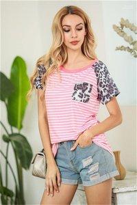 Casual colorés Mode rayé Femmes T-shirts Womens Designer T-shirts léopard court à manches raglan Tops d'été