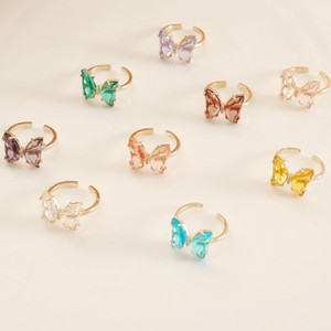 New Fashion Women Rings Crystal Open Butterfly Rings Simple Banquet Wedding Rings Designed For Women Birthday Gift For Girlfriend