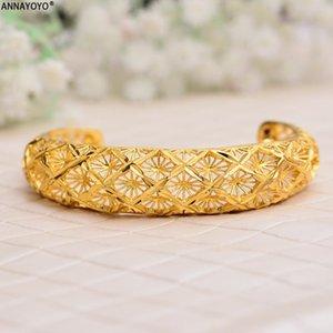 Annayoyo 1PCS Armbänder für Frauen Goldfarbe afrikanische Twisted-Armbänder und Armbänder Arabische äthiopischen Schmuck Mode