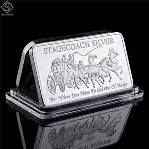 Nord-Ouest 999 Monnaie territoriale fin Stagecoach Argent sécable Bar Coin Metal Crafts Cadeaux Replica 50 x 28mm 1OZ Silver Bar