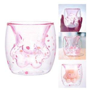 Netter Katze-Greifer-Form-Paw Glas Doppelwand-Becher Rosa Sakura Petal Kaffeetasse Milch-Tee-Getränk-Becherglas heißes Geschenk