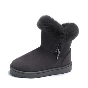 Snow boots women plus velvet thick plush shoes for fall winter new style belt buckle flat ankle boots ladies warm cotton shoes wholesale