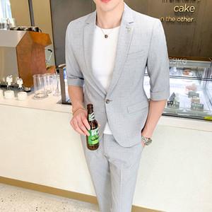 Top Quality Mens Suit Sets Short-sleeved Blazer+Ankle-length Pants 2 Pieces One Button Men Fashion Casual Slim Jacket Trousers X0923 X0923