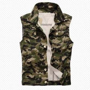 Men's Camouflage Denim Vests Military Sleeveless denim Jackets Casual Male Vest Camo Waistcoats Homme T200910