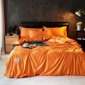 실크 유럽 스타일의 침대 시트 이불 커버 베개 커버의 4 개 공단 홈 섬유는 220x240 킹 사이즈 싱글 더블 퀸 베드 리넨