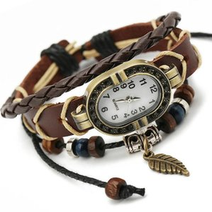 Hip Hop Punk Cowhide leather Quartz Watch bracelet Men Women Wristwatch Electronic Watches Retro Strap 2020 Gift