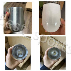 12oz Wine Tumblers Blank Sublimation Egg Cup Stainless Steel Vacuum Insulated Cup Coffee Mugs with Lid Beer Mugs with SEA SHIPPING YYA481