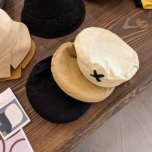 New Arrivals Time-Limited Designers Beret Female Cross Strap Autumn and Winter Thin Japanese Plain Octagonal Hat Net Red British Retro Artis