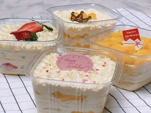 350ml Disposable Clear Cake Box Container With Lid Cheese Ice Cream Fruit Mousse Packaging Box