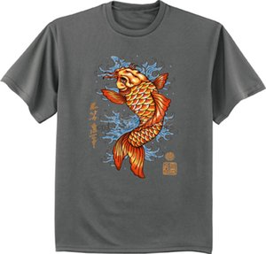 camisa dos peixes de Koi para homens cinza T escuro da camisa japonês koi projeto decalque tshirt camisa dos desenhos animados t homens Unisex Moda de Nova tshirt livre