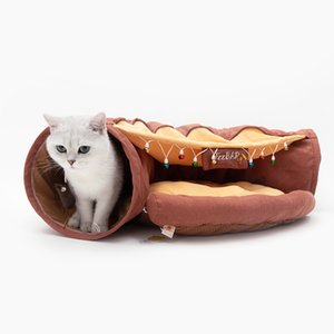 Luxury Foldable Long Cat Tunnel Bed 2 Holes Cave Kenne Interactive Toy Sisal Bag Cama Gato Cueva l Indoor Igloo Dog Houses