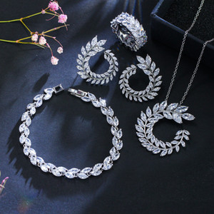 CWWZircons 4 Pcs Leaf Shape New Fashion CZ Necklace Earring Bracelet and Ring Sets Famous Brand Jewelry Womens Accessories T011 MX200810