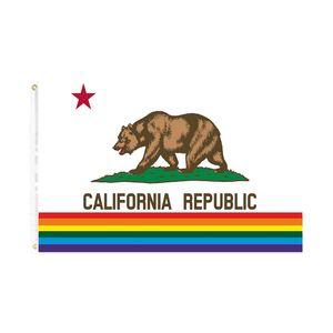 orgulho de Califórnia do arco-íris Bandeira frete grátis bandeira LGBT direto da fábrica 90 * 150 para interior decoração de suspensão ao ar livre