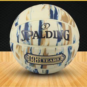 Аутентичные NEW Spalding 125 лет Marble серия желтый размер Баскетбольный 84-039Y 7 Rubber Крытый открытый игровой баскетбольный мяч