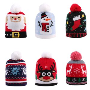 Christmas Baby Kids Knit Hat Winter Warm Crochet Hats Christmas Santa Claus Snowman Print Knitted Skull Beanie Cap Outdoor Hats Sale D91004
