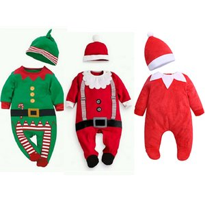 0-24M Newborn Baby Cotton Kids Jumpsuit Hat Clothing Christmas Outfit Cute Infant Romper Baby Boys Girls Wearing Clothes 0917
