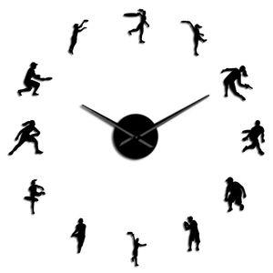 Efeito Relógio quarto e assistir espelho gigante Relógio Tennis Recados Modern Living Diy Frameless Jogadores amante do tênis Feminino Art Masculino parede bbyyyZ