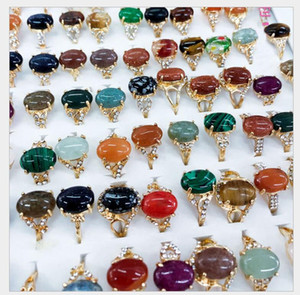 Fashion 30 Pieces lot Rainbow Stone Ring Mix Style Designs Women's Natural Stone Ring Jewelry Gift ps1674