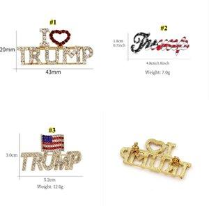 Trump Brooch Pins Shining Rhinestone Letter Glitter Brooches Women Fashion Crystal Heart Pins Party Gift DHB1964