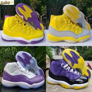 2020 zapatos baratos Top Nuevo alta 11 XI WMNS plata metálico amarillo blanco púrpura 11s para hombre de baloncesto superior de Jumpman entrenadores deportivos zapatillas de deporte