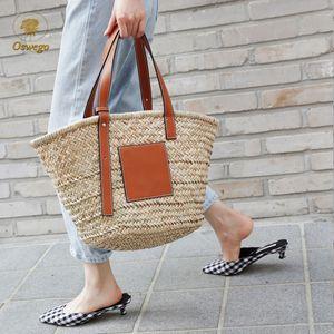 2019 Brand Straw Handbag Rattan Summer Woven Oswego Bag Beach Travel Shopping Bohemia Large Shoulder Capacity Bag Straw Women Cepnl