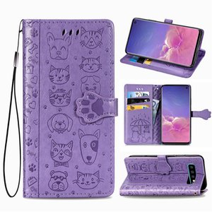 Ffor Samsung Galaxy S10-Plus S10+ Case PU Leather Cute Cat and Dog Anti-skid Surface Magnetic Buckle Hand Strap (Model:S10PLUS S10+)