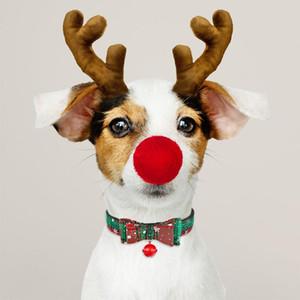 Animaux de Noël Collier de chien de neige en tissu Femme Homme Puppy Pet Bow Tie Matching traction corde réglable