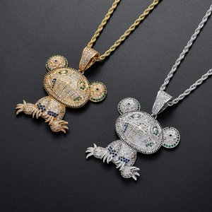 Colored Frog Pendant Necklaces Hip Hop Personality Pendant Necklace Golden Pendant Necklace Copper Zircon Necklace In Europe and America