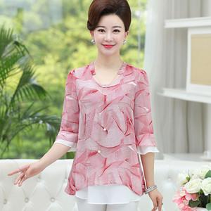 Falso NIFULLAN Dos pedazos de las mujeres blusa de la gasa del verano de la llamarada de la manga elegante Tamaño Blusas Plus madre camisas casual jersey suelto
