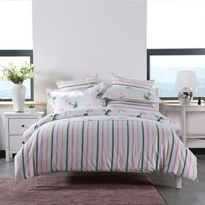 4шт / комплект Одеяло Пододеяльник Pink Rose Pure Romantic Love Красочные линии пододеяльник лист Наволочка 100% хлопок 2 Размер L / XL