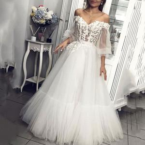 2020 Prinzessin Schatz Brautkleider PUFFÄRMELN Lange Tüll Brautkleider Appliques Lace Country Garden Brautkleid Vestido De Noiva