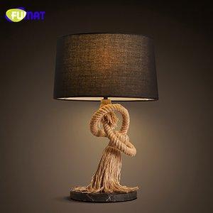 Fumat American Country Retro Table Lamp Креативный отель Гостиная Rope Настольные лампы Исследование Спальня Тумбочка Лампы