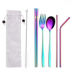Rainbow Stainless steel Cutlery Set with Portable bag 3PCS SET and 5PCS SET Flatware spoon chopsticks straw brush Kitchen Tableware