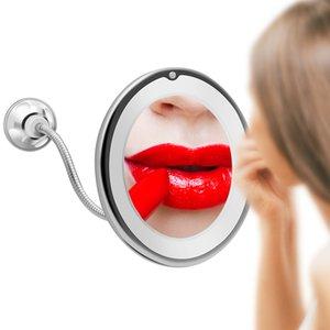 LED espelho de maquiagem Espelho com presente LED Luz Espelho 10X de ampliação Miroir Miroir Espelhos partido Home