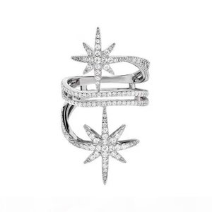 Europe and America Popular Fashion Women Ring White Gold Plated Full CZ Star Ring for Girls Women for Party Wedding Nice Gift