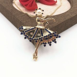 2020 factory wholesale golden ballet girl pendant necklace brooch dual-use blue crystal fashion high-end ladies jewelry accessories