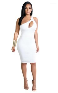 Dresses Sexy Hollow Out One Shoulder Dress Casual Sleeveless Natural Color Dresses Women Clothes Designer Women