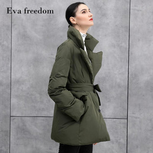 European and American fashion style women's new products Eva freedom temperament suit collar down jacket mid-length women