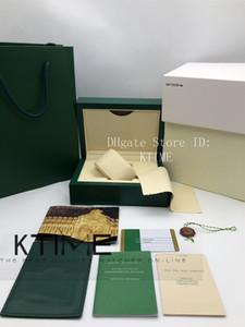 Les plus récents Top Qualité Meilleur Vert foncé Coffret cadeau Woody cas pour 116610 carte Livret boîte Rolex Balises et papiers d'emballage en tissu Wipe Montre Case
