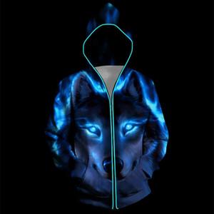 Led Glowing Colorful Wolves Luminous Hooded Sweatshirt Street Club Women Men Couple Hoodies Sudadera Hombre