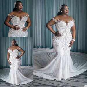 Charming Plus Size Mermaid Lace Wedding Dresses Beaded Sheer Bateau Neck Sequined Bridal Gowns Court Train robe de mariée