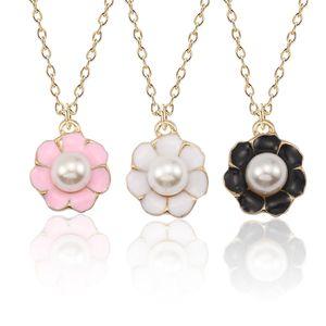 Neue Blumen-Perlen-hängende Halskette für Frauen Mini Metall Gold Emaille bunten Gänseblümchen-Halsketten-Anhänger Pflanze Schmuck Collier Femme