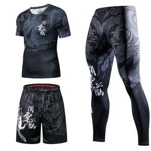Новый китайский стиль Casual Спорт Мужчины костюмы Gym Fitness Компрессионные Кофты Костюм Бег Бег Спортивная одежда Упражнение тренировки Set