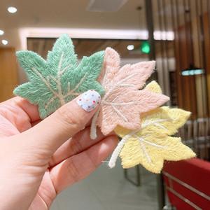 Color sólido bordado de hojas horquilla niñas caramelo colorea BB Clip Bisel Para Niños Moda Accesorios para el cabello