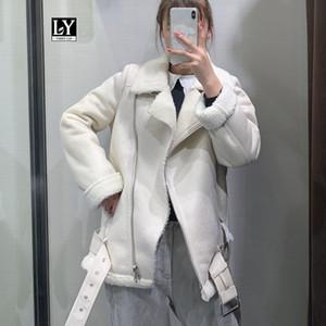 Ly Varey Lin mujeres beige de piel sintética con cinturón Escudo Cordero gira el collar abajo invierno gruesa caliente de la capa de la cremallera de gran tamaño chaqueta de cuero