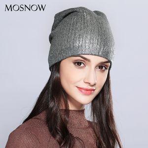 Beanie Skull Caps MOSNOW Women's Hats Shining Wool Knitted 2021 Autumn Winter Fashion Brand Hat Female Skullies Beanies Bonnet #MZ715