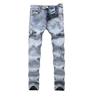 مصمم أزياء ذكر ملابس فاخرة أضعاف بنطلون رجل تغسل الملابس الداخلية Silod اللون أزرق فاتح نحيل الجينز