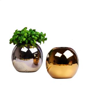 Modern Brief Golden Ceramic Small Vase Furnishing Silver Color Bonsai Potted Round Ball Vase Crafts Desktop Flower Arrangement Bottle vase