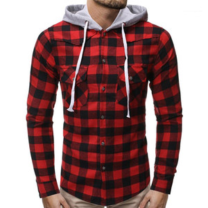 Teenager Designer Homme Clothing Autumn Mens Plaid Hoodie Shirts Casual Long Sleeve Single Breasted Apparel Fashion