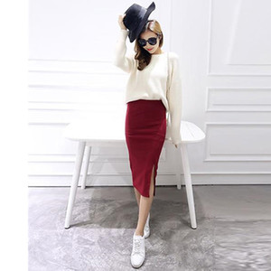 High Street Women Bodycon Skirts One Side Split Sexy Ladies Skirts Work Wear Midi Skirt Autumn Winter Bodycon Femininas